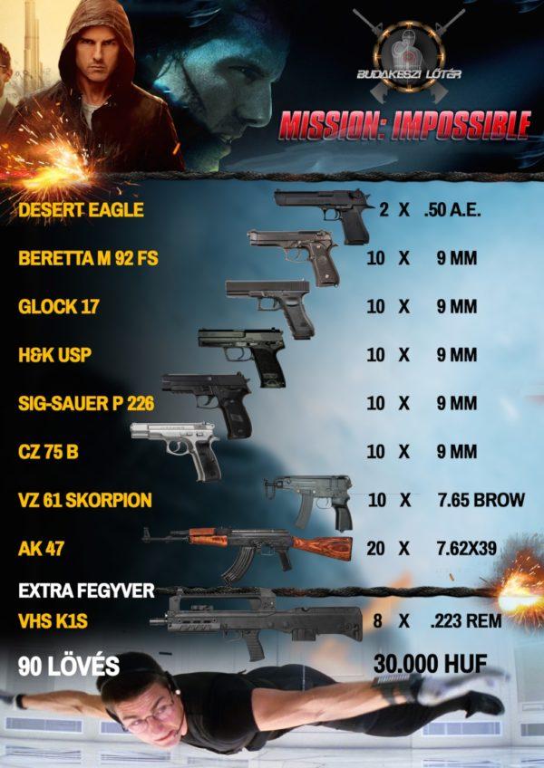 Mission: Impossible élménylövészeti csomag Mission: Impossible élménylövészeti csomag